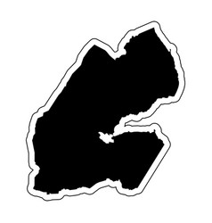 black silhouette of the country djibouti with the vector image