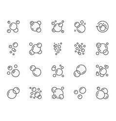 Bubbles flat line icons set soap foam fizzy vector