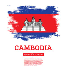 Cambodia flag with brush strokes independence day vector
