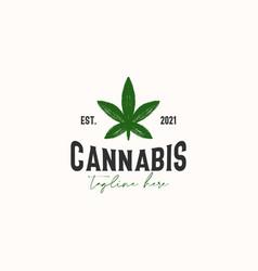Cannabis leaf vintage rustic hipster logo vector