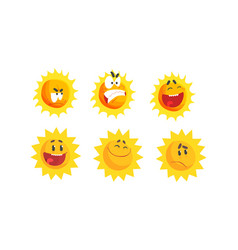 cartoon sun expressing different emotions vector image