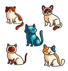cats color hand drawn set vector image