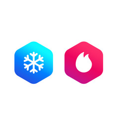 Cold and hot icons vector
