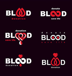 Collection emblems created on blood donation vector