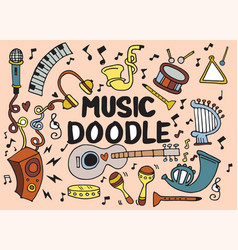 Collection music instruments in circle hand vector