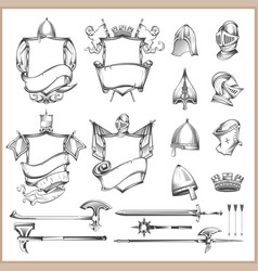 Collection of heraldic elements helmets and vector