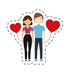 couple feelings red hearts balloon vector image