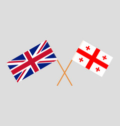 Crossed georgian and british flags vector