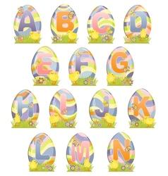 Cute Easter alphabet vector image