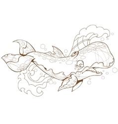 cute whale sperm whale vector image