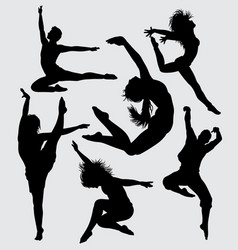 Dance and aerobic silhouette vector