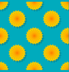 dandelions on blue background seamless pattern vector image