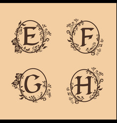 decoration letter e f g h logo design concept vector image