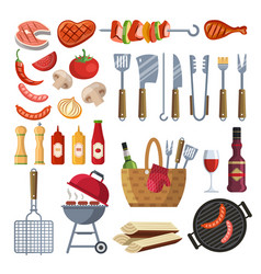 Different special tools and food for barbecue vector