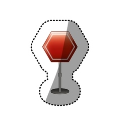 Dotted sticker hexagon road sign red icon vector