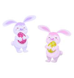 easter cake rabbits holding easter egg set vector image