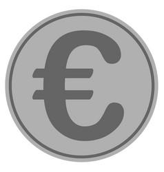 euro symbol silver coin vector image