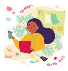 Female blogger freelance writer works with laptop vector
