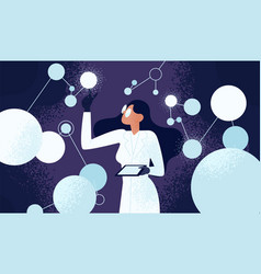 Female scientist in lab coat checking artificial vector