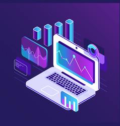 Finance market analysis isometric 3d charts vector