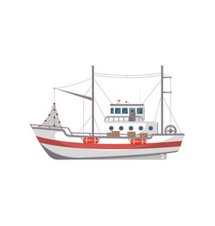 fishing boat side view icon vector image