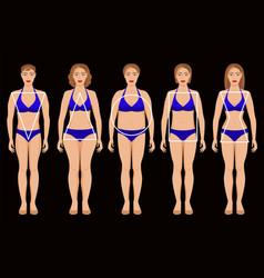 Five types of female figures vector