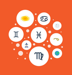 flat icons earth planet horoscope virgin and vector image