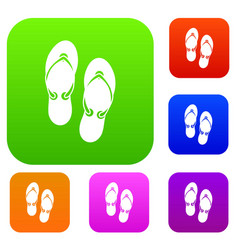 flip flop sandals set collection vector image