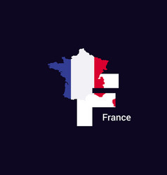 France initial letter country with map and flag vector