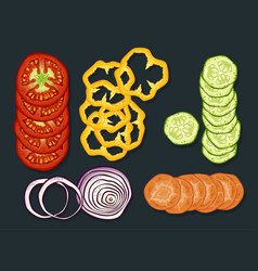 fresh cutting vegetables set vector image