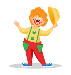 funny cartoon clown with hat vector image