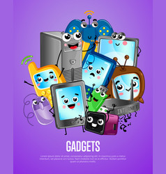 Funny computer gadgets cartoon poster vector