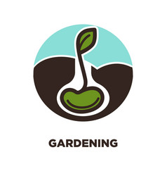 Gardening logo of sprouting tree isolated vector