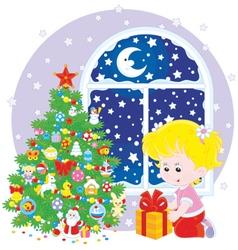 Girl and Christmas gift vector image
