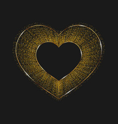 Golden shiny heart isolated on a black background vector