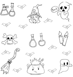 Halloween doodle set witch element vector image