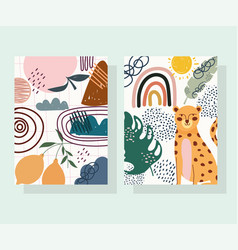 hand drawn contemporary leopard trendy print vector image