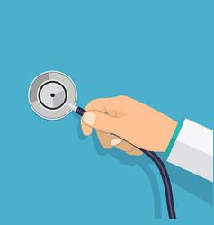 Hand holding stethoscope vector