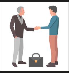 Handshake brunette man and gray-haired man vector