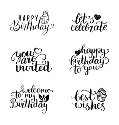 Happy birthday hand lettering collection vector