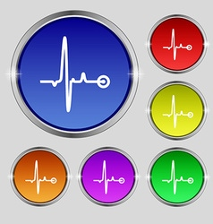 Heartbeat icon sign Round symbol on bright vector image