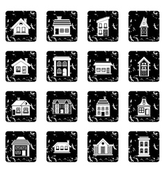 House set icons grunge style vector