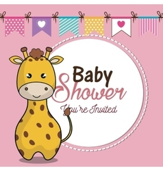 Invitation baby shower card with giraffe desing vector