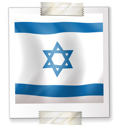 Israel flag on square paper vector