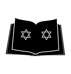Jewish bible with the star of david icon vector