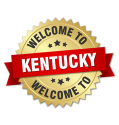 Kentucky 3d gold badge with red ribbon vector
