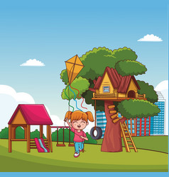Kids playing at park cartoons vector