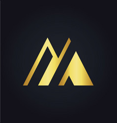 Letter m colored gold logo vector