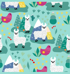 Llama and succulents in a repeated pattern vector