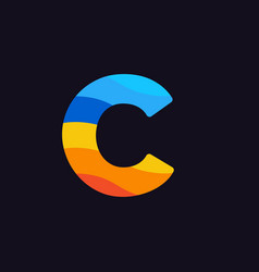 logo letter c colorful blue red orange vector image